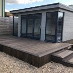 5mts x 3.6mts Mill board composite. Smoked Oak cladding. Antique Oak deck area. Maintenance free.